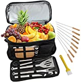 ROMANTICIST Heavy Duty BBQ Grill Accessories Set with 15 Can Cooler Bag - 20Pc Stainless Steel Barbecue Tool Set in Water Proof Insulated Bag for Outdoor Picnic Camping Tailgating - Ideal Gift Kit