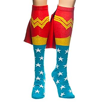Bioworld Wonder Woman Knee High Cape Sock, Red, One Size