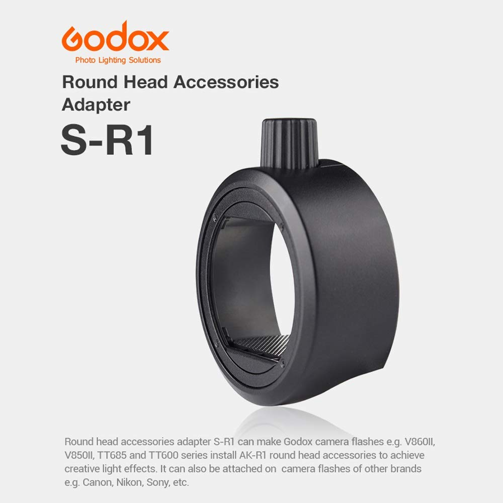 Install AK-R1 Round Head Accessories to Achieve Creative Light Effects Godox S-R1 Adapter,Round Flash Head Magnetic Modifier Adapter for Godox V860II and TT600 Series Flashes V850II TT685