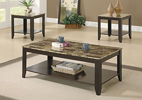 MONI7984P - MONARCH FURNITURE CAPPUCCINO / MARBLE-LOOK TOP 3PCS TABLE SET