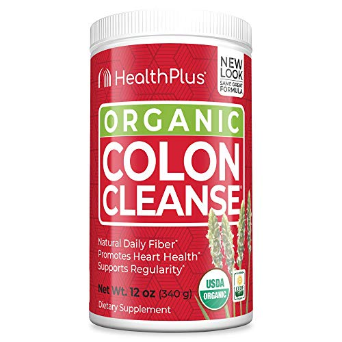 Health Plus Colon Cleanse – All Natural Daily Fiber, Detox, USDA & CCOF Organic Certified, Heart Healthy (12 Ounces, 56…