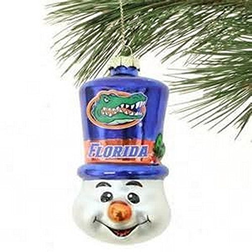 NCAA Licensed Blow Glass Top Hat Snowman Ornament (Florida Gators) (Ncaa Florida Gators Snowman)