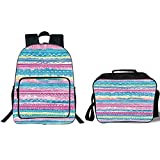 19' School Backpack & Lunch Bag Bundle,Tribal Decor,Watercolor Tie Dye Effect Art Stripes Aquatic Theme Bohemian Aztec Print,Blue Pink Cream,for Boys Girls