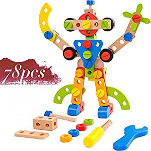 Wooden Building Toys 78 Piece for 3 Year Old Boys STEM Toys for 3, 4, 5 Year Old Boy Gifts