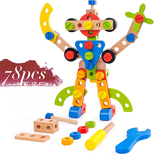 stem toys for 4 year old Wooden Building Toys 78 Piece for 3 Year Old Boys STEM Toys for 3, 4, 5 Year Old Boy Gifts
