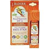 Badger - SPF 35 Kids All Season Face Stick, Tangerine and Vanilla - 0.65 Oz Stick