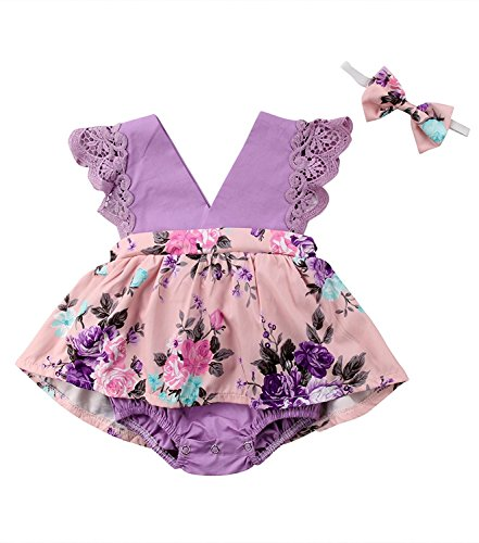 HappyMA Toddler Baby Girl Clothes Floral Dress Lace Ruffle Sleeveless Backless Skirt with Headband 2Pcs Outfit (Purple, 12-18 Months) by HappyMA (Image #7)