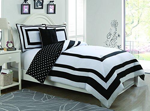 Geneva Home Fashion 4-Piece Hotel Juvenile Reversible Polka Dot Comforter Set, Full, Black