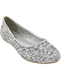 Womens Glitter Bridal Dolly Pumps Shoes