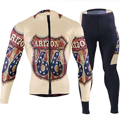 Anyangquji Grungy Retro Style Arizona Route 66 Sign Mens Long Sleeve Mountain Bike Road Bicycle Shirt Padded Pants
