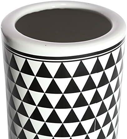 Sagebrook Home Ceramic Umbrella Stand, White Black, 6.25×6.25×16