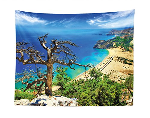 Tapestry, Greek Beach View Rhodes Island Tsambika Coastline Clear Sky and Sea Photo, Fabric Wall Hanging Decor for Bedroom Living Room Dorm, 28 W X 23 L inches, Blue Green Brown ()
