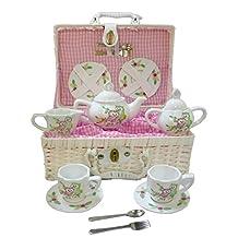 Delton - Children's Tea Set with Basket - Owls