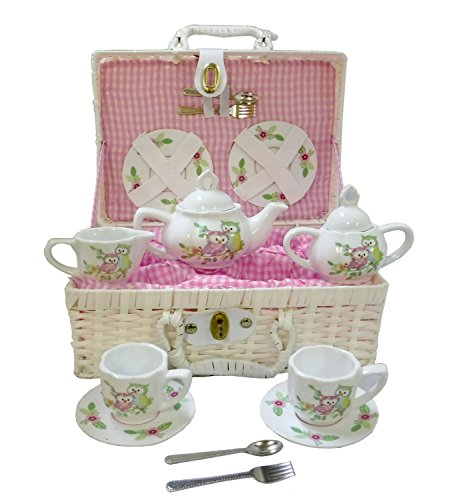 Delton Products Owls Children's Tea Set with Basket (Childrens Baskets Tea)