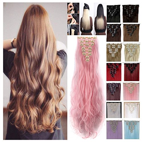 [Haironline Standard weft 8 piece full head 18 Clips Clip in Hair Extensions 24