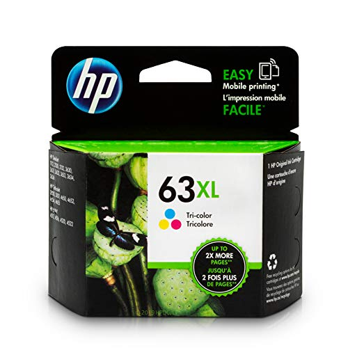 HP 63XL Tri-color Ink Cartridge (F6U63AN) for HP Deskjet 1112 2130 2132 3630 3632 3633 3634 3636 3637 HP ENVY 4512 4513 4520 4523 4524 HP Officejet 3830 3831 3833 4650 4652 4654 4655 ()