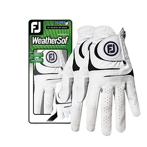 FootJoy Women's WeatherSof Golf Glove, Pack of 2, White Large, Worn on Left -