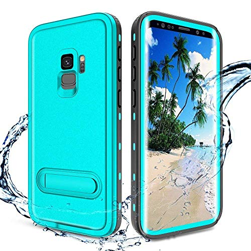 XBK Case Compatible with Galaxy S9, Waterproof Case with Built-in Screen Protector, Full-Body Rugged Resistant Protective Hard Cover Case for Galaxy S9 (2018) (Teal&Stand)