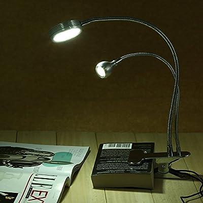 Creativo 2 En 1 Clip Lámpara De Mesa Usb De Doble Cabeza Ajustable ...