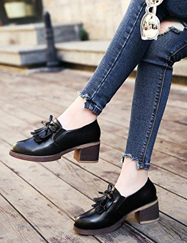 Farbe britische Schwarz Frühlings Schuhe Damenschuhe weibliche größe Frauen Leder Art HWF zufällige Quasten einzelne 39 Schuhe wAT7q1H