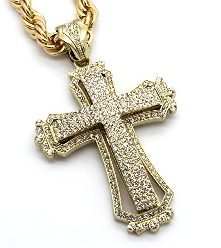 Mens Large Hollow Cross Gold Tone Iced Out Pendant 30