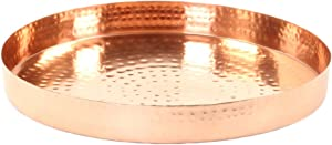 Koyal Wholesale Hammered Round Copper Metal Tray, Candle Holder Centerpiece, Home Décor Decorative Table or Bar Tray, Copper Tray for Plants (Copper)