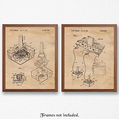 Vintage Atari Video Games Patent Art Poster Prints, Set of 2 (8×10) Unframed Photos, Great Wall Art Decor Gifts Under 15 for Home, Office, Garage, Studio, Shop, Student, Teacher, Gaming Fan