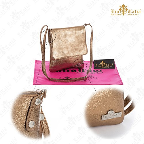LIATALIA Handbag Metallic Size Cross Italian AMBER Body Shoulder Leather Womens Real Red Purse Soft Medium rwqrO8P