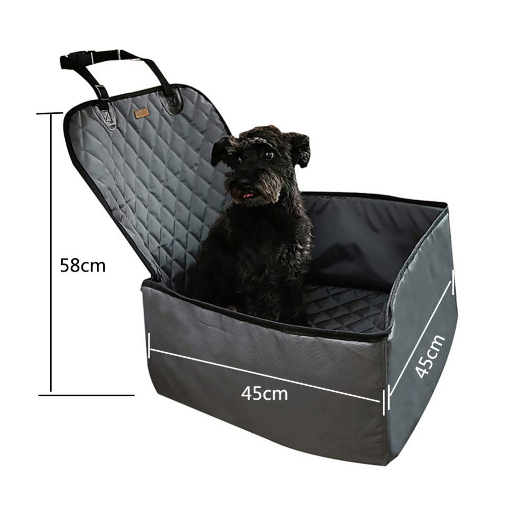 Grey 45x45x58cm grey 45x45x58cm ZIOFV Package Pet Car Booster Seat Front Seat Cover for Dog Cat, Portable 2-in-1 Dog Seat Predection Non-Slip Waterproof with Safety Belt