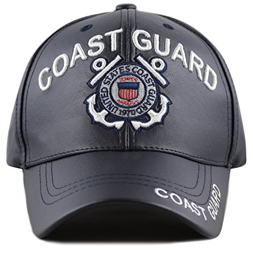 THE HAT DEPOT 1100 Official Licensed 3D Embroidered Soft Faux Leather Cap (U.S. Coast Guard-Navy)