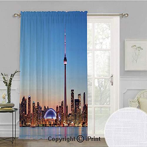 Modern Extra Wide Chiffon Sheer curtain,Canadian Skyline Toronto City with Lake Panorama at Evening Urban Scenery Decorative,for Large Window/Sliding Glass Door/Patio Door,100x84inch,Light Blue Cinnam (Toronto Curtains Sheer)