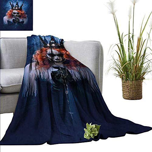 AndyTours Wearable Blanket,Queen,Queen of Death Scary Body Art Halloween Evil Face Bizarre Make Up Zombie,Navy Blue Orange Black,300GSM, Super Soft and Warm, Durable -