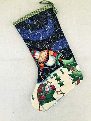 (Handmade Quilted Christmas Stocking, Snowman Fabric, Decorative Stitching)