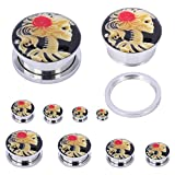 red 2g plugs - TEEMI Red Rose Skeleton Cameo Screw Fit Plugs Stainless Steel Double Flare Plugs 6mm (2 Pieces)