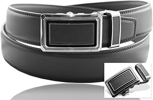 Eurosport Men's Genuine Leather Ratchet Dress Belt with Automatic Buckle - FDL065 - Light Gray 41-42