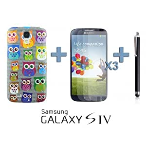 OnlineBestDigital - Owl Painting Diamond Rhinestone Hard Back Case for Samsung Galaxy S4 IV I9500 / I9505 - Black with 3 Screen Protectors and Stylus