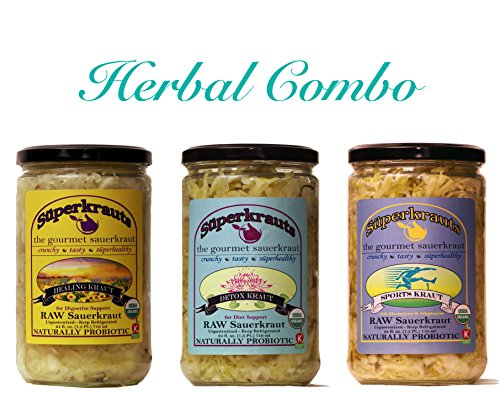 Herbal combo-pack: raw fermented sauerkraut, organic, probiotic, kosher and unpasteurized No shipping charges with this combo pack.