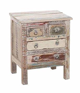 dd2efa4ad96d87 CLP teck Table de chevet NIRVANA, avec 4 tiroirs, 50 x 45 cm-Hauteur ...
