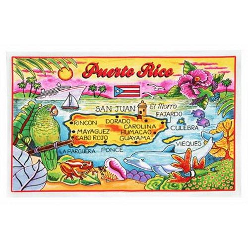 "Puerto Rico Map Cotton Tea Kitchen Towel 19"" x 30"""