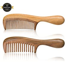Wood comb, wide tooth comb ,nature Green sandalwood comb hand made 100% nature hair comb Anti static wide tooth hair comb fine tooth hair comb Scalp massage combs nature made