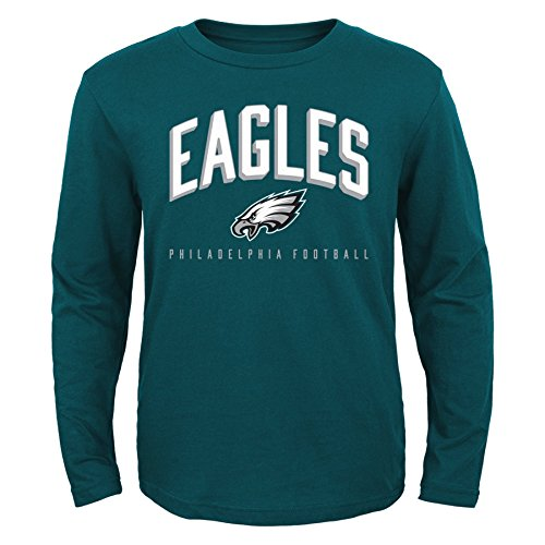OuterStuff NFL Philadelphia Eagles Boys 8-20 Arched Standard Long Sleeve Tee, Green, Small