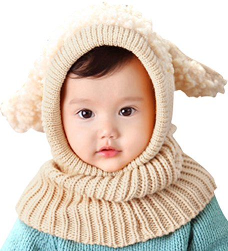Bienvenu Kids Hat Winter Cold Weather Crochet Earmuff Beanie Hat Scarves Neck Warmer 1 Piece Set, Beige]()