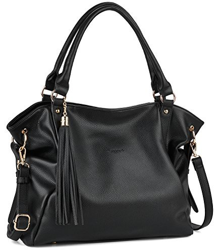 Bageek Handbags for Women,Purses and Handbags Tassel Satchel Shoulder Handbags Black Pu Leather Tote Purse ()