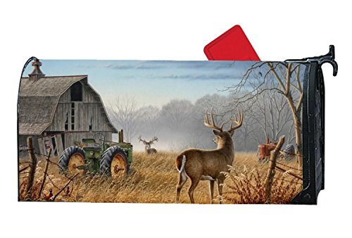 JuLeFan Deer Tractors Personalized Mailbox Cover Magnetic Fits Standard-Sized (Personalized Mailbox Covers)