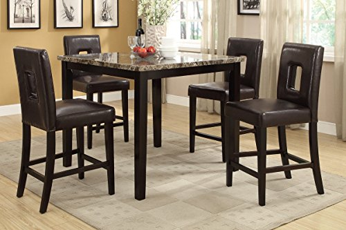 Poundex F2339 & F1321 Faux Marble Top W/ Brown Leatherette Stools Counter Dining Set