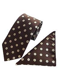MENDENG Men's Polka Dot Tie Pocket Square Set Silk Necktie Handkerchief 2 Pieces