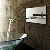 Single Handle Waterfall Ys4662 Wall Mount Bathroom Sink Faucet , Nickel Brushed Picture