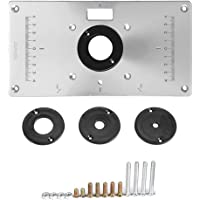 """Aluminium Router Tischeinsatzplatte mit 4 Ringen und Schrauben für Holzbearbeitungstische für rebajadoras 9.3""""x4.7 x 0.3 Einsatz Router Tisch Banken Holz Drehbank"""