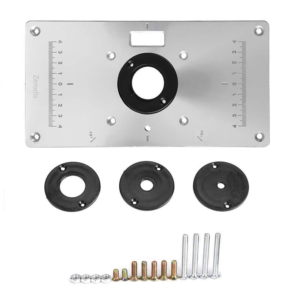 11,81 x 9,25 x 0,37 Inch Router Platte Aluminium Router Tabelle Insert Plate Router Tischeinsatz Platte DIY Fr/äser Tischplatte mit Einsteckring f/ür Holzbearbeitung B/änke