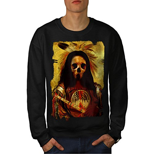 [Skull Indian Soldier Costume Men NEW Black L Sweatshirt | Wellcoda] (Mayan Warrior Costumes)